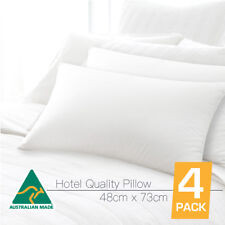 Australian Made 5 Star HOTEL Quality FOUR PACK Standard Pillows Cotton Cover