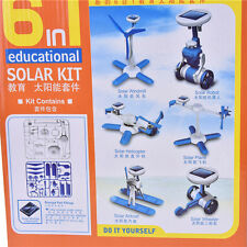 Creative DIY 6 IN 1 Educational Learning Power Solar Robot Kit Children Toy@@