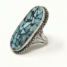 Vtg Navajo Chip Inlay Turquoise Ring Sz7.5 Sterling Silver NM Estate 13.5g