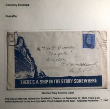 1945 England Merchant Navy War Economy Label Cover To USA
