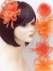 Orange Fascinator Brooch Clip Hair Feather Flower Wedding Ladies Day Races