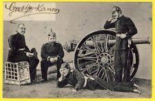 cpa 1905 ALLEMAGNE PRUSSE ARTILLERIE CANON SOLDATS casque à Pointe UNIFORME Gun