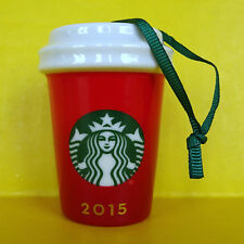 2015 Starbucks Red Ornament Christmas New Limited Edition To Go Cup Ceramic ✔