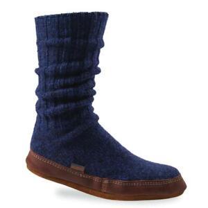 Acorn NWT Original Slipper Socks Men's 10.5-11.5 Knit Wool Blend Leather Cushion