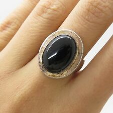 925 Sterling Silver Large Natural Black Onyx Gemstone Ring Size 6.5