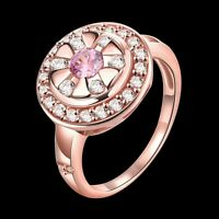 18K Rose Gold GP Lady's Inlay Swarovski Crystal Wedding Engagement Ring Size 8
