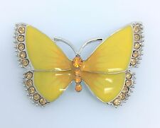 SMALL YELLOW BUTTERFLY DIAMANTE CLEAR TOPAZ CRYSTAL ALLOY ENAMEL BROOCH