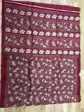 INDIA BHAGALPURI Art silk saree Red beige FLORAL Unstitched Blouse USA SELLER