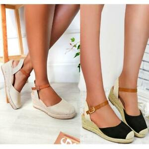 WOMENS LADIES LOW HEEL ESPADRILLE WEDGES ANKLE STRAP SUMMER SANDALS SHOES SIZE
