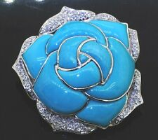 turquoise flower jumbo cluster brooch/pendant Heavy 18K Wg 0.70Ct diamond &