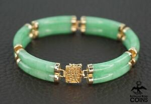 14k Yellow Gold Carved Green Double Jade Link Bracelet w/ Box Clasp