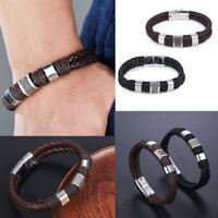 Men Women Leather Titanium Steel Magnetic Braided Clasp Bangle Bracelet Jewelry
