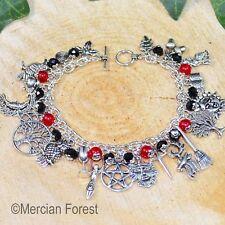 Pagan Ways Charm Bracelet - Gothic Tones - Ruby - Wicca, Witch, Pagan Jewellery