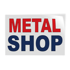 Decal Stickers Metal Shop Red Blue Vinyl Store Sign Label Industrial & Craft