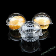 10Pcs Clear Plastic Cupcake Holder Container Cake Box Home Kitchen Supply