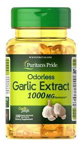 Puritan's Pride Odorless Garlic Extract 1000 mg 100 Rapid Release Softgels