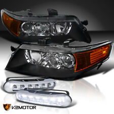 2004-2005 Acura TSX Projector Headlights Black Housing w/ 6-LED DRL Fog Lamp