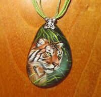 Beautiful BENGAL TIGER pendant hand painted Natural STONE Gorbachova signed GIFT