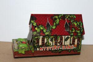 VERY NICE VINTAGE TN NOMURA TIN LITHO WIND UP HAUNTED HOUSE MYSTERY BANK