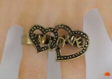 Bague 2 Doigts Style Vintage 2 Coeurs Love Métal Couleur Bronze Ajustable