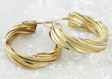 10kt Yellow Gold Twisted Wide Hoop Earrings, 1 inch (New Design, 4.9g) #00001441