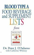 Blood Type A : Food, Beverage and Supplemental Lists by Peter J. D'Adamo (2001,…