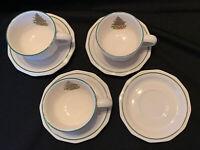 Vintage Pfaltzgraff Christmas Tree Heritage Set of 3 Cups & 4 Saucers EUC