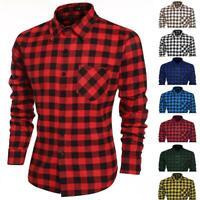 New Men Long Sleeve Plaid Shirt Grid Fit Slim Stylish Casual Dress Shirts Tops
