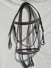 PONY SIZE BROWN 100% ENGLISH MADE/LEATHER RAISED BRIDLE/REINS 50% OFF! 3 LEFT ..