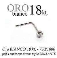 Piercing naso nose  ORO BIANCO 18kt. griff con CUBIC ZIRCONIA white GOLD 18kt.