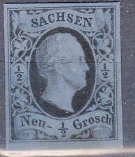 Saxony, Sc#3, VF NG, 1/2 Ngr Black Proof on Blue tinted card, Mi#3P2, *RARE*