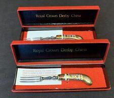 "Royal Crown Derby Old Imari Individual Fruit Forks in Box Pair- 6 1/8"" L As Is"