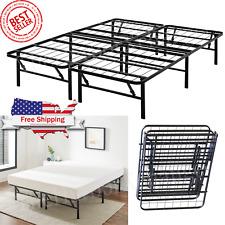 Platform Bed Frame Heavy Duty Folding Foundation Steel Base King Queen Full Twin
