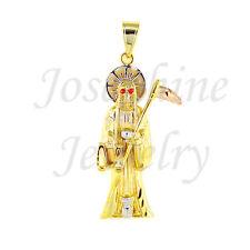 14k Gold Plated Red Eye Grim Reaper Angel of Death Santa Muerte 3 Tone Pendant