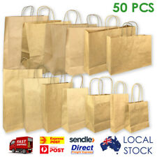 Kraft Brown Paper Bags with Handle 13 Sizes Shopping Gift Carry Bag 50 Pieces