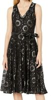 Tommy Hilfiger Womens Dress Black Size 10 A-Line Floral Lace Illusion $144 075