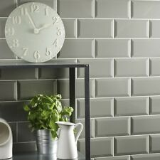 Sample of gloss sage metro bevelled edge ceramic wall tiles 10 x 20cm