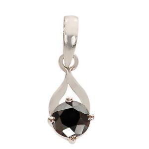 925 Sterling Silver Round Cut 2.55Ct 100% Natural Black Diamond Women's Pendant