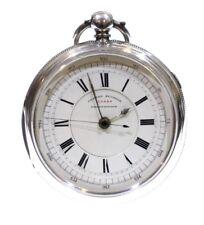 Molto Grande Antico 1884 FIACCOLA ANTIVENTO LEVA Argento Cronografo Orologio da taschino. REVISIONATA