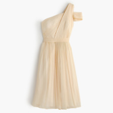 J CREW 14 Cara Dress Champagne Silk Chiffon One Shoulder Draped Bridesmaid NWT