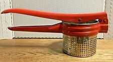 Vintage Kitchen Potato Ricer Masher Metal Red Collectible Made In Michigan