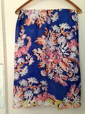 Epice silk cotton scarf graphic floral blue pink orange large square 39.5 x 41
