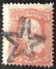 USA 1861 3 Cent Brown Red with grill & star cancel