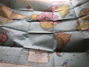 "Vintage Rand McNally Cosmopolitan World Map 52"" x 34 1/2"" colorful unique"