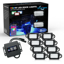 MICTUNING [Upgraded] RGBW LED Rock Lights Offroad Bluetooth Music Timing- 8 pods