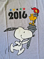 Peanuts Snoopy & Woodstock 2016 With Olympic Torch Tshirt  NWT---L ,XL or 2XL