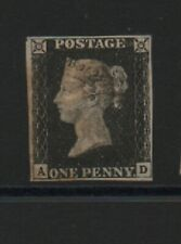 GB 1840 Penny black SG2 AD 4 margins FAINT RED maltese cross cancel fine stamp
