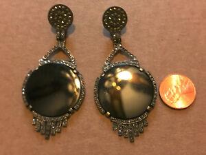 finest large JUDITH JACK sterling silver onyx marcasite dangle earrings  bm1-7