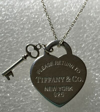 Tiffany & Co Heart and Key Sterling silver Pendant + Necklace