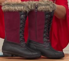 Sporto® Natasha; Waterproof Suede and Leather Duck Boot, Merlot 7M